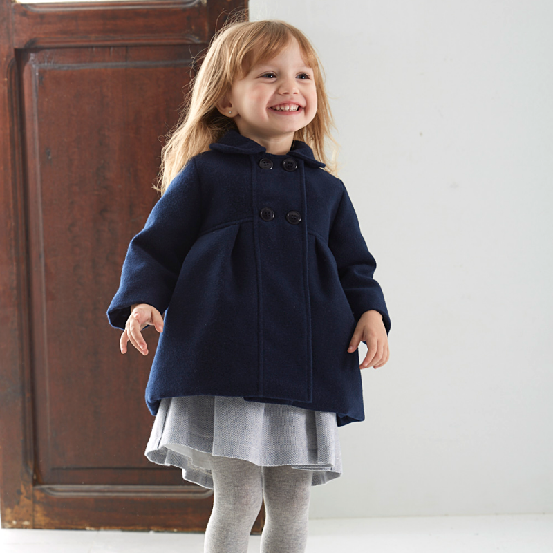 BABIDU_NAVY_GIRLS_OUTDOOR_COAT