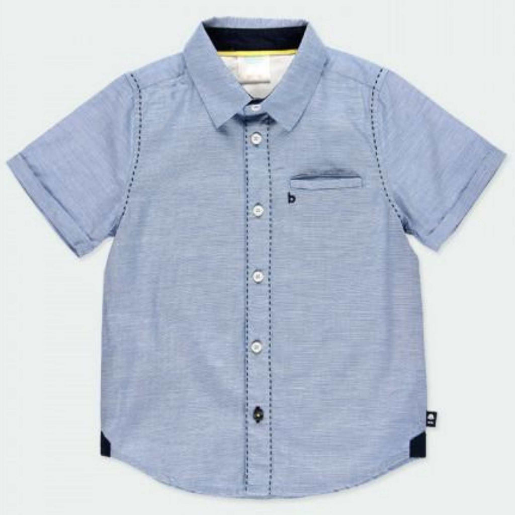 Boboli-Smart-Short-Sleeve-Blue-Shirt-For-Boy-Occasion