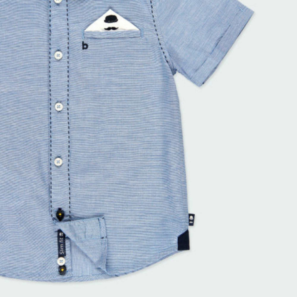 Boboli-Smart-Short-Sleeve-Blue-Shirt-With-Pocket-Square-For-Boy