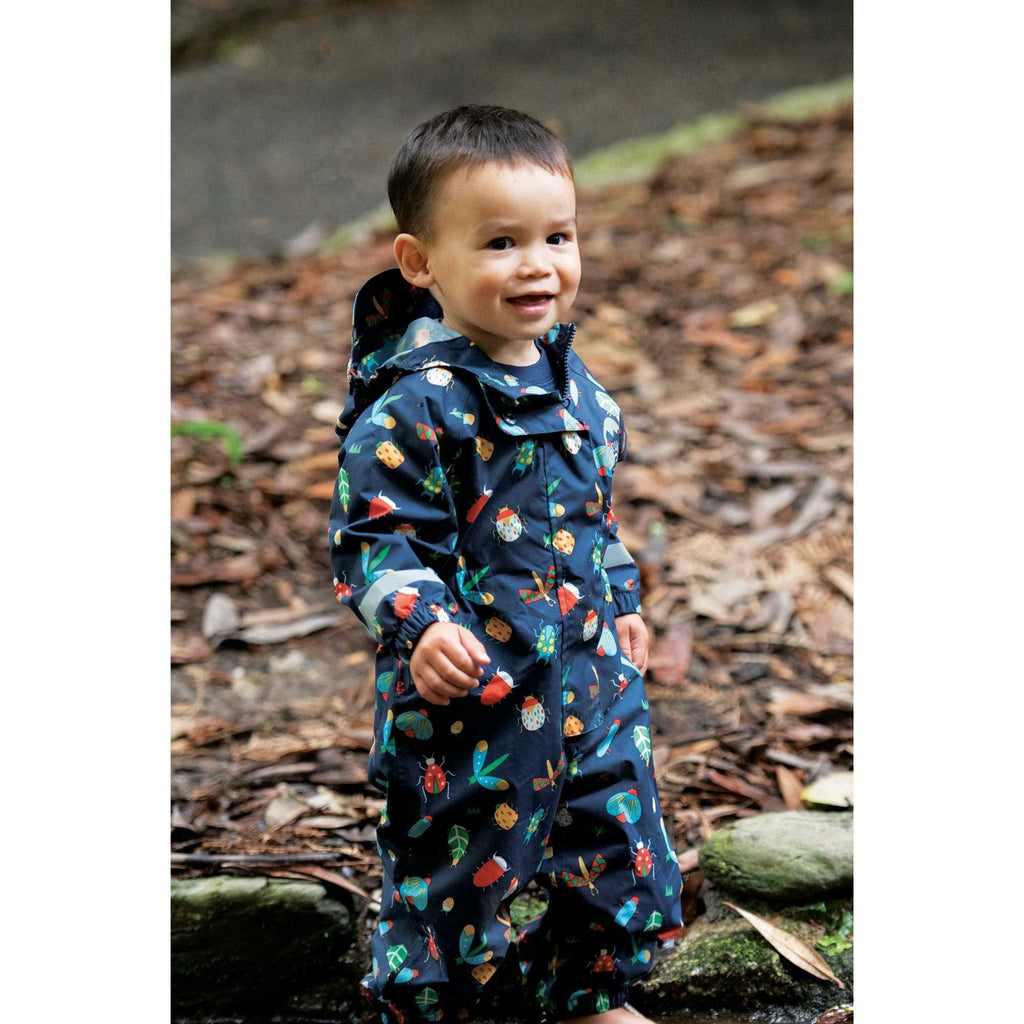 Frugi Organic Rain or Shine Bug Print Waterproof Rain Suit For Baby Boy And Toddler