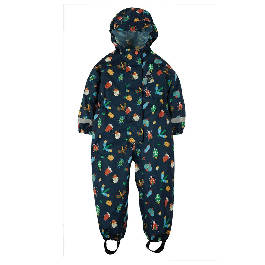 Frugi Organic Rain or Shine Waterproof Rain Suit For Little Boy In Bug Print-From-Front