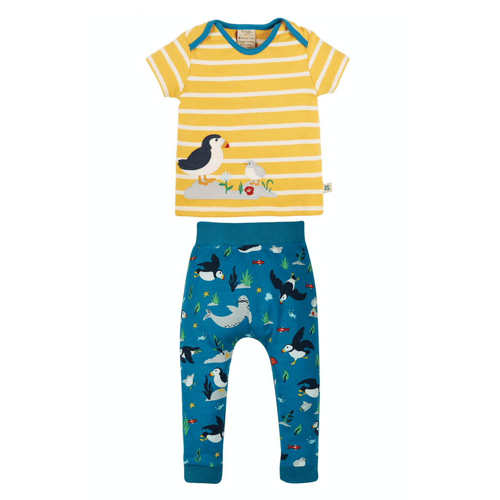 Frugi-SS21-Frugi-Olly-Puffin-T-shirt-And-Trouser-Set-For-Baby-Boy-Chislers-Ireland