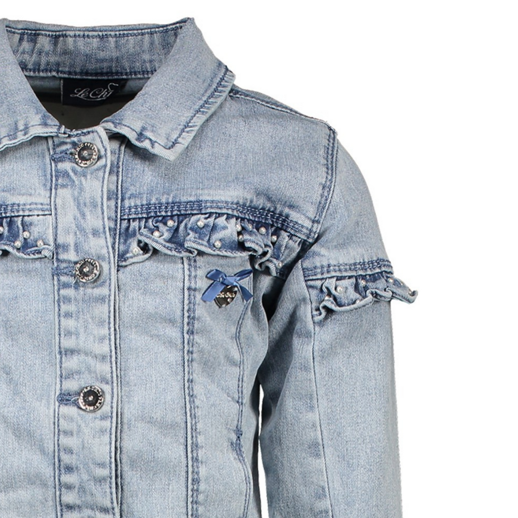 Le Chic Girls Light Blue Summer Denim Jacket With Frills & Pearl Details - Chislers
