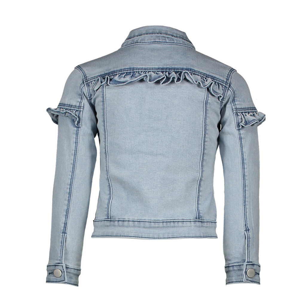 Le Chic Girls Light Blue Summer Denim Jacket With Frills & Pearl Details - Back