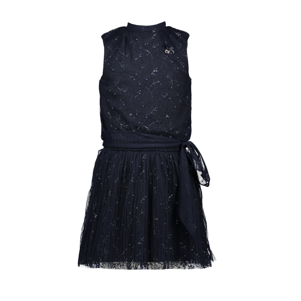 Le Chic Girls Navy Sparkle Empbrodered Sleeveless Occasion Dress With Sash At the Front - Chislers