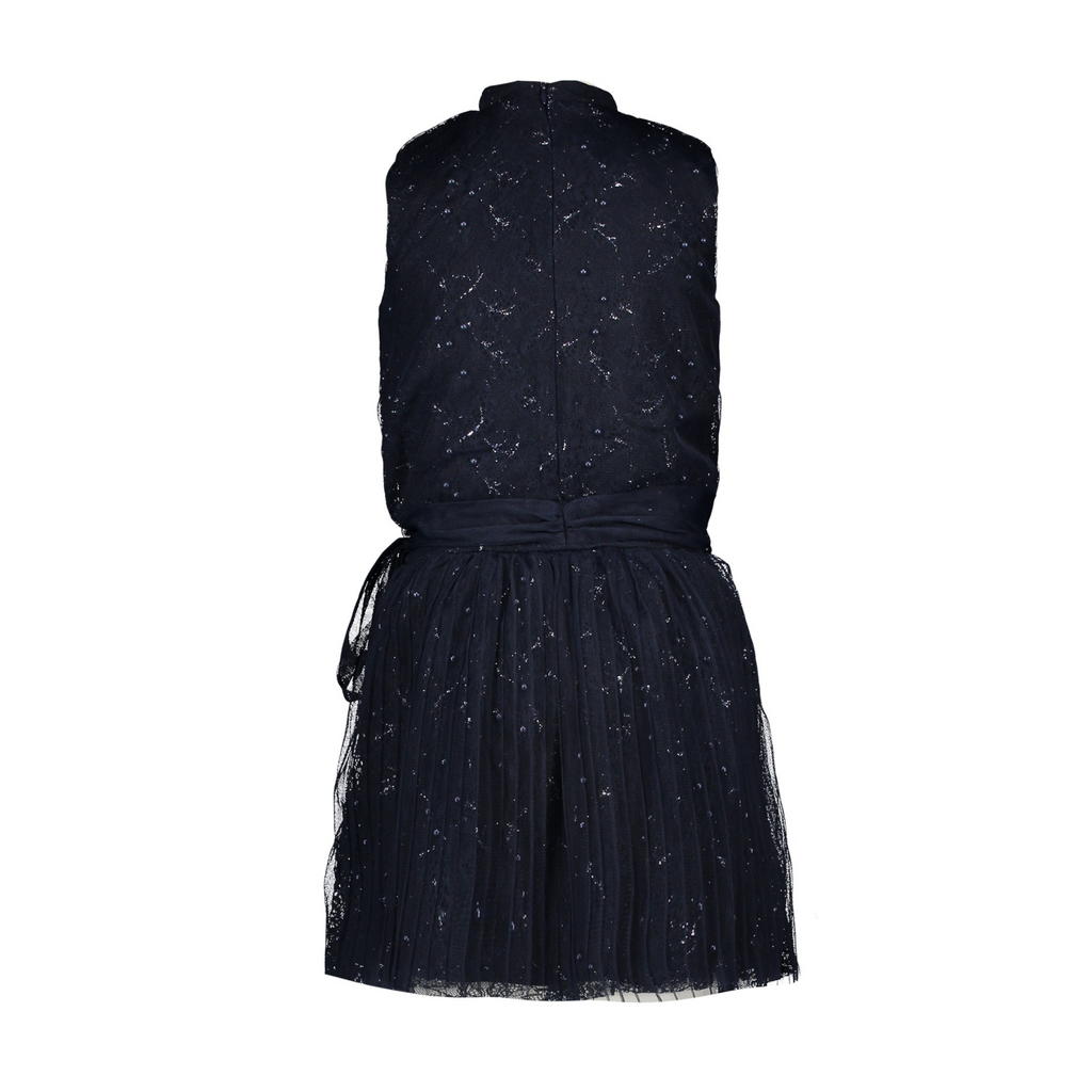 Le Chic Girls Navy Sparkle Empbrodered Sleeveless Occasion Dress At the Back - Chislers