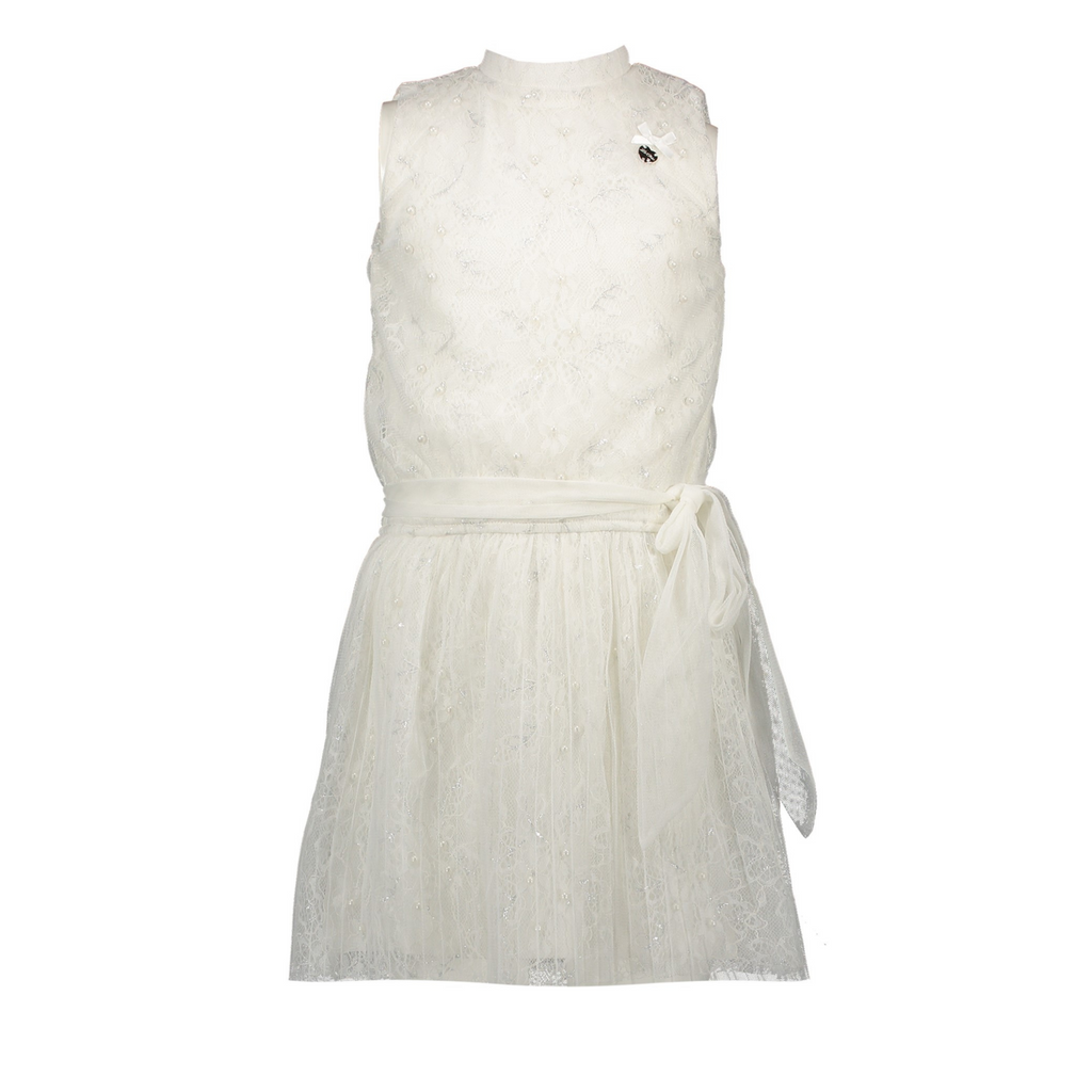 Le Chic Girls Sparkle Sleeveless Occasion Dress In Off White Colour At The Front - Chislers