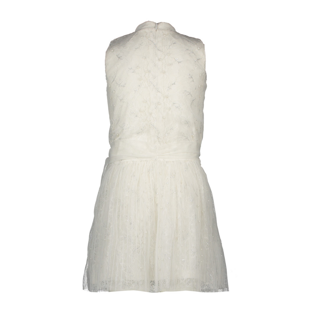 Le Chic Girls Sparkle Sleeveless Occasion Dress In Off White Colour At The Back