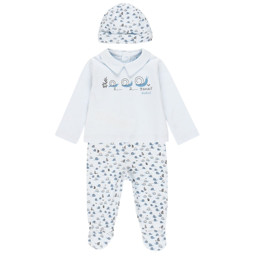 SS21-Boboli-Blue-Snail-3-Piece-With-Gift-Box-Set-For-Baby-Boy-From-The-Front-Chislers