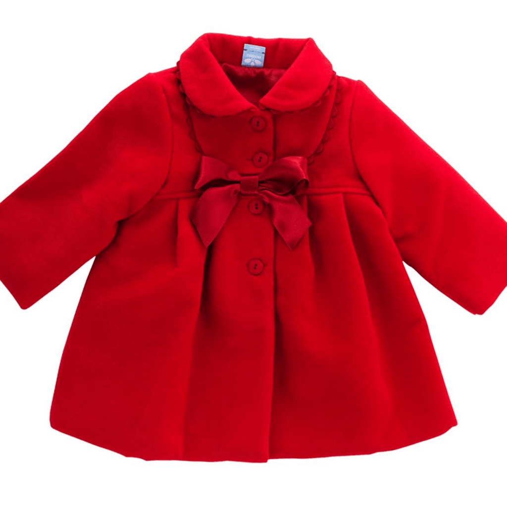 Sardon Girls Traditional Red Coat With Bow