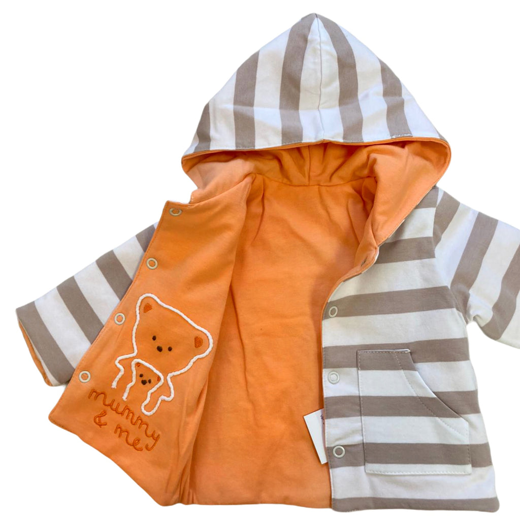 iDO-Beige-Stripe-Newborn-Baby-Inisex-Mummy-And-Me-Reversible-Jacket-Chislers-Online.
