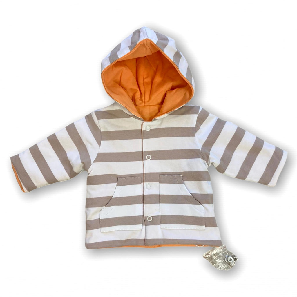 DO-Beige-Stripe-Newborn-Baby-Inisex-Reversible-Jacket-With-Hood-Chislers-Ireland