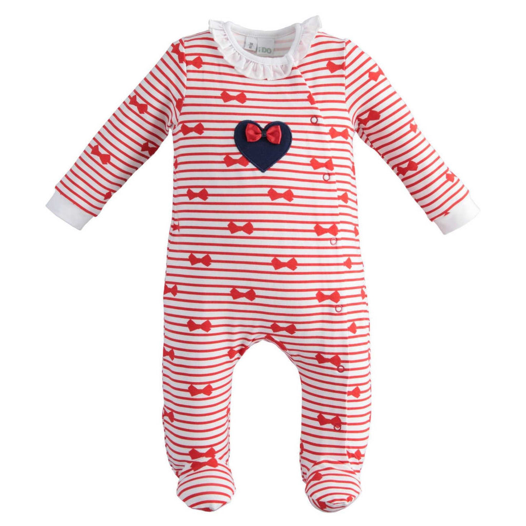 iDO-Red-Stripe-Babygrow-Bow-Romper-For-Newborn-Baby-Girl