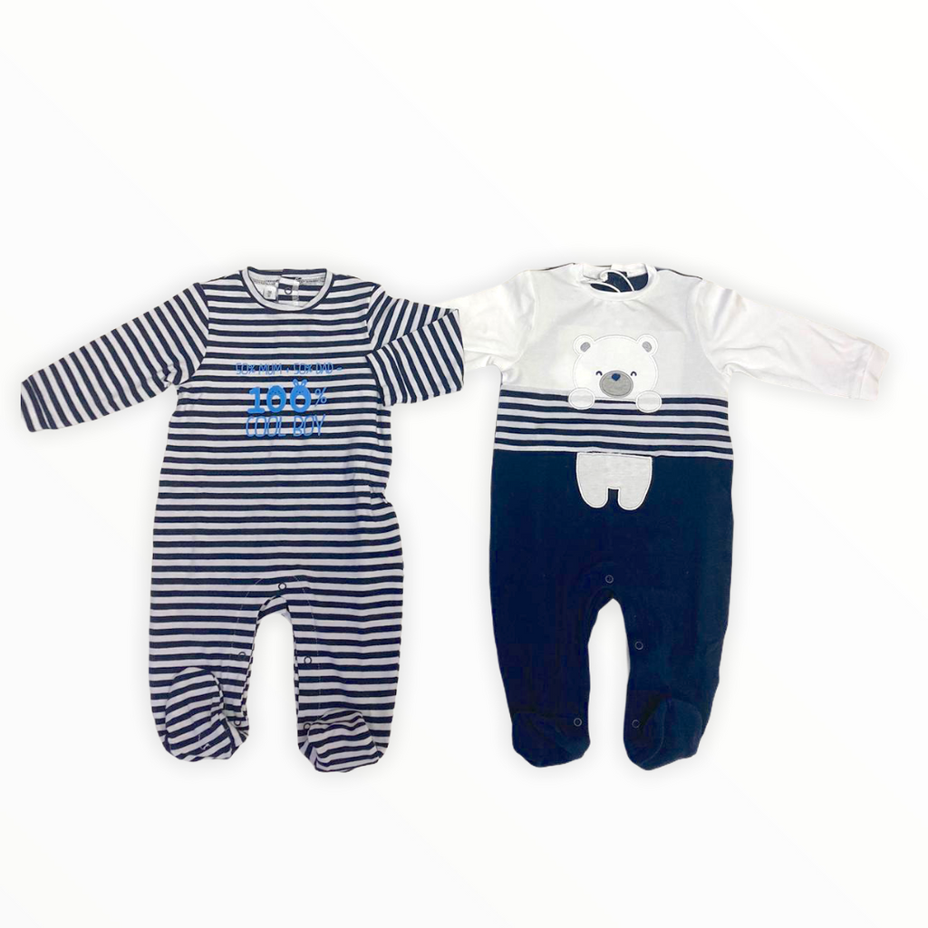 iDO Newborn Baby Boys Navy/White 2Pack Babygrow Set - Chislers