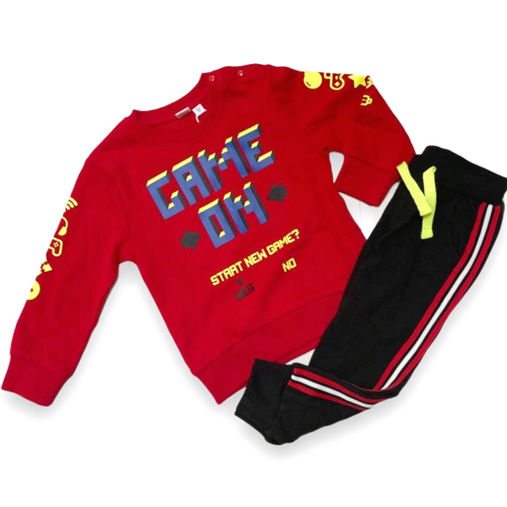 iDO Red & Black Game On Two-Piece Boys Tracksuit Gift Set