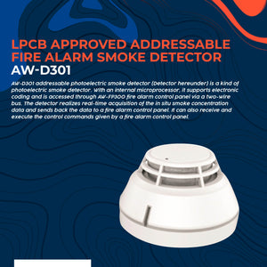 LPCB Approved Addressable Fire Alarm Smoke Detector AW-D301