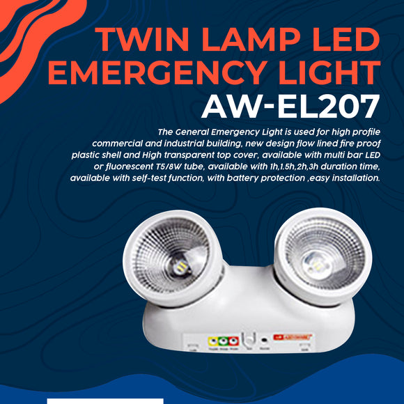 Twin Lamp LED Emergency Light AW-EL207