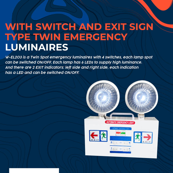 With Switch and Exit Sign Type Twin Emergency Luminaires