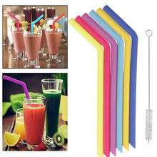 Load image into Gallery viewer, Reusable silicone straw