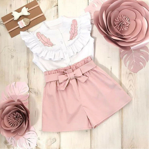 Lovely Kid Baby Girls Feather Clothes