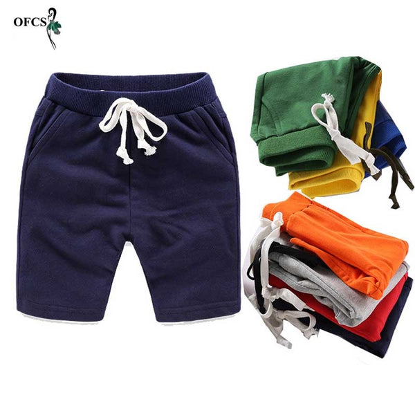 Solid Elastic Waist Shorts For Boys Girls