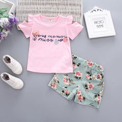 Two Pieces Cotton Girls Clothing Sets Summer Vest Sleeveless Children Sets Fashion Girls Clothes Suit Casual Floral Outfits 1-5T