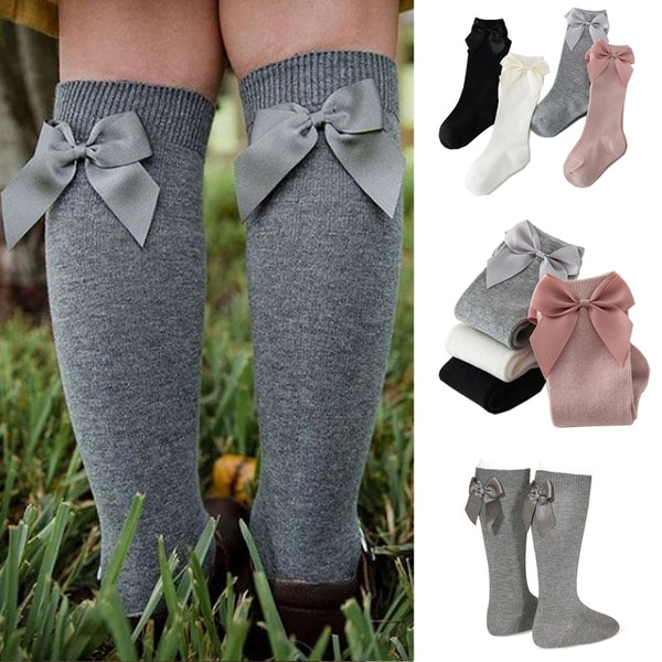 Girl Big Bow Knee High Long Soft Kids Socks