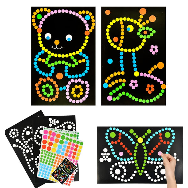 10/15pcs DIY Colorful Dot Primary Mosaic Puzzle Stickers