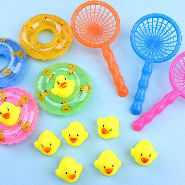 Swimming Rings Rubber Yellow Ducks Fishing Net