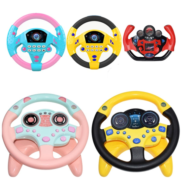 Electric Simulation Steering Wheel Toy with Light Sound