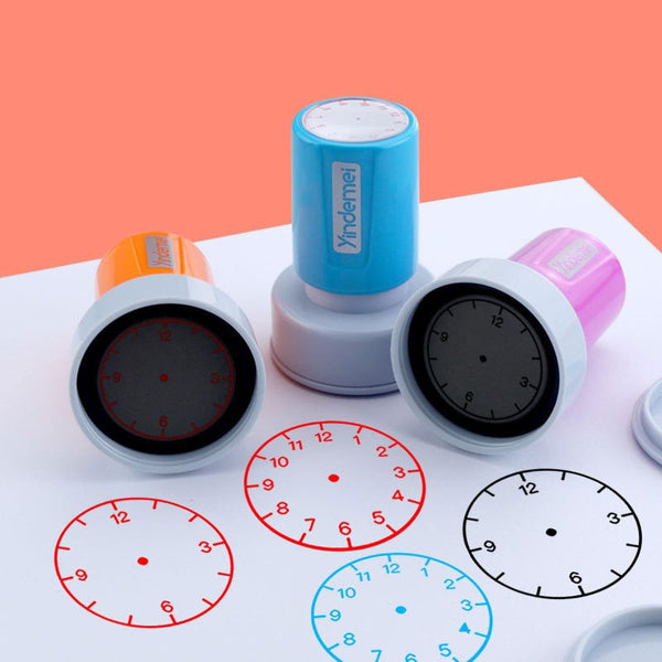 1pc Learning Recognition Teacher Teaching Seal Clock Dial Stamps Primary School Seal Kids Children Toys 30mm In Diameter New
