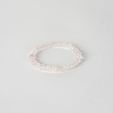 8mm Faceted Bracelet-Rose Quartz