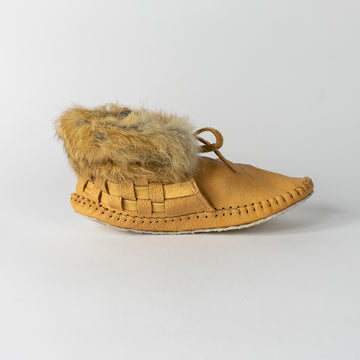 Jamie Gentry Moccasins-Woven with Abalone and Fur