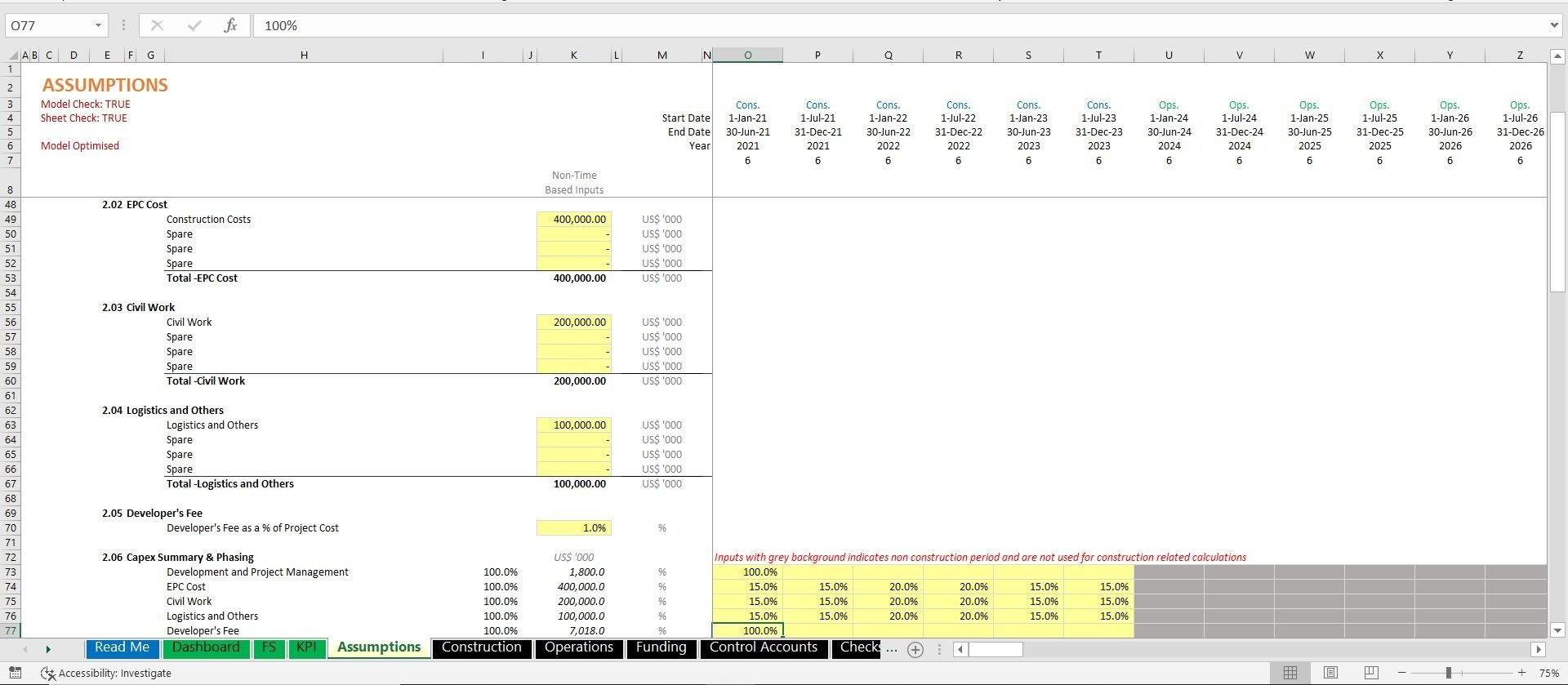 project finance toll road build and operate excel model with 3 statements and valuation 10