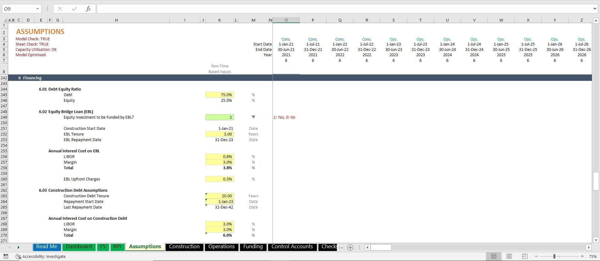 project finance toll road build and operate excel model with 3 statements and valuation 14