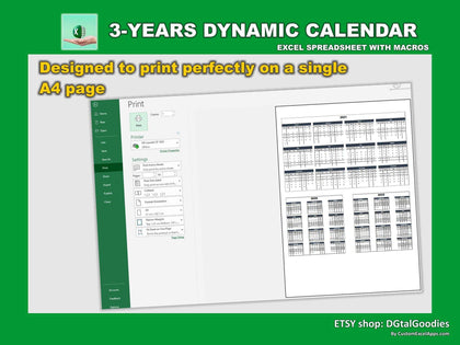 3 years dynamic digital excel calendar 1