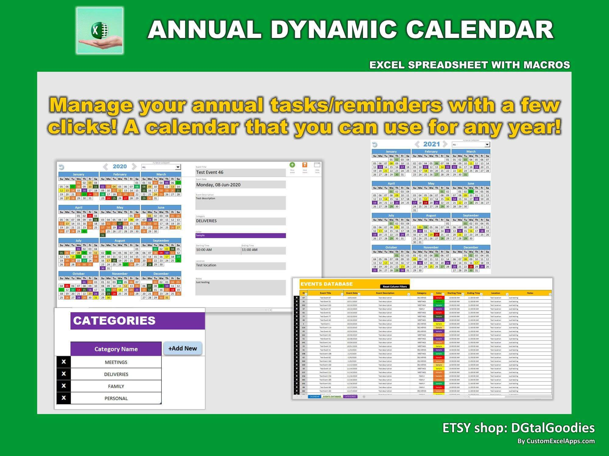 annual dynamic planner in excel very 4