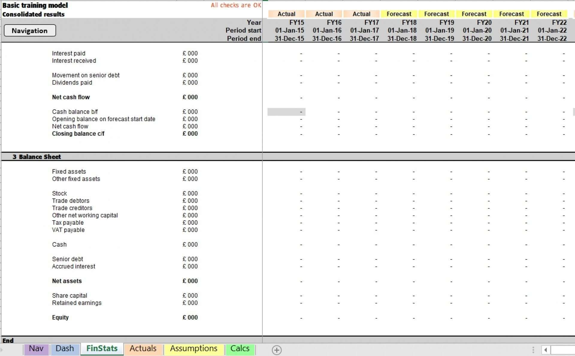 basic forecast excel model template 4