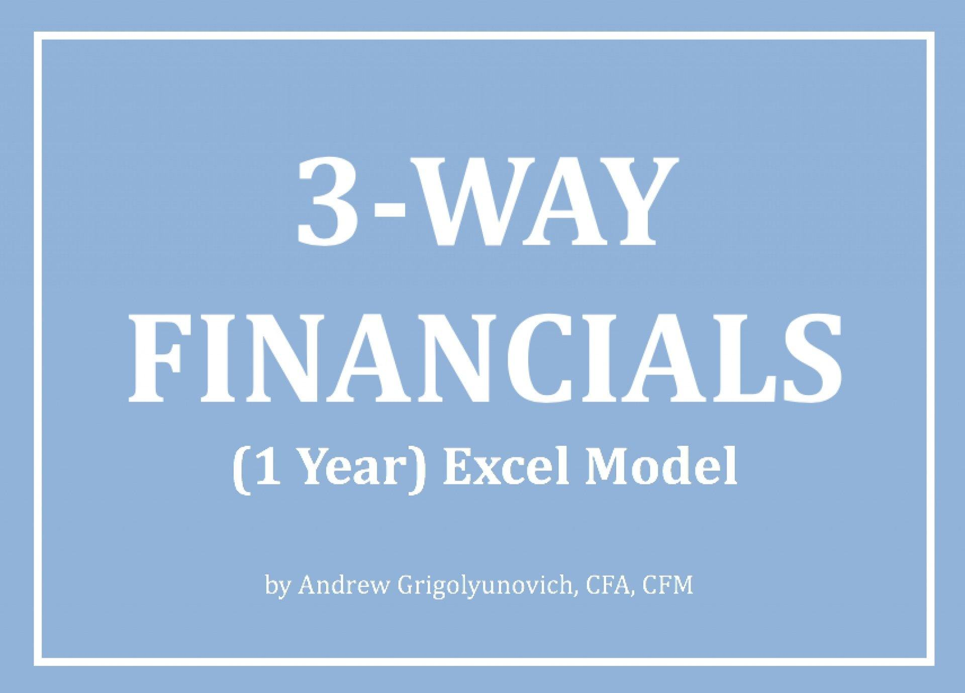 3-Way Financials (1 year) Excel Model - Templarket -  Business Templates Marketplace