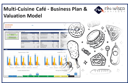 multi cuisine cafe 3 statement financial model with 5 years monthly projection and valuation 1