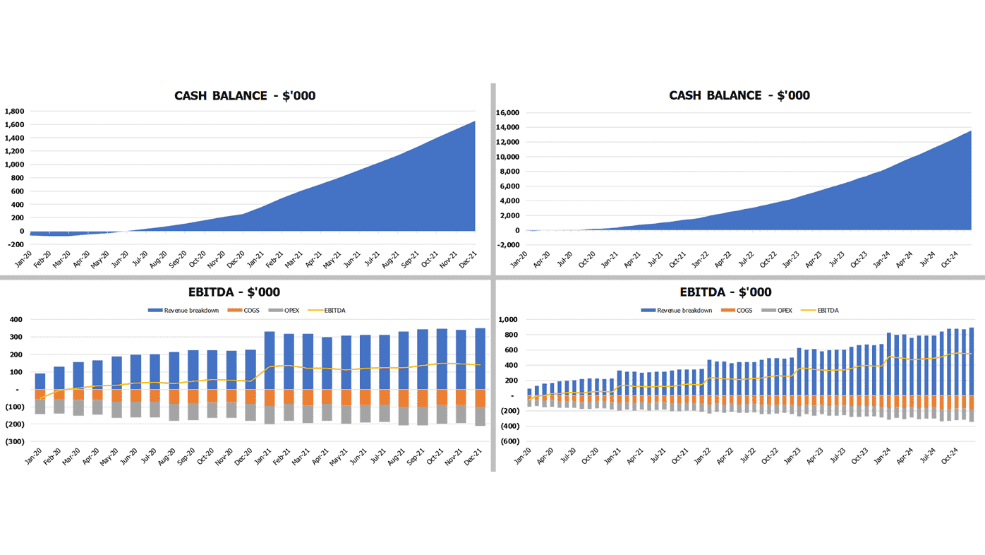 Concierge Service Pro Forma Excel Template Financial Charts Cash Balance and EBITDA