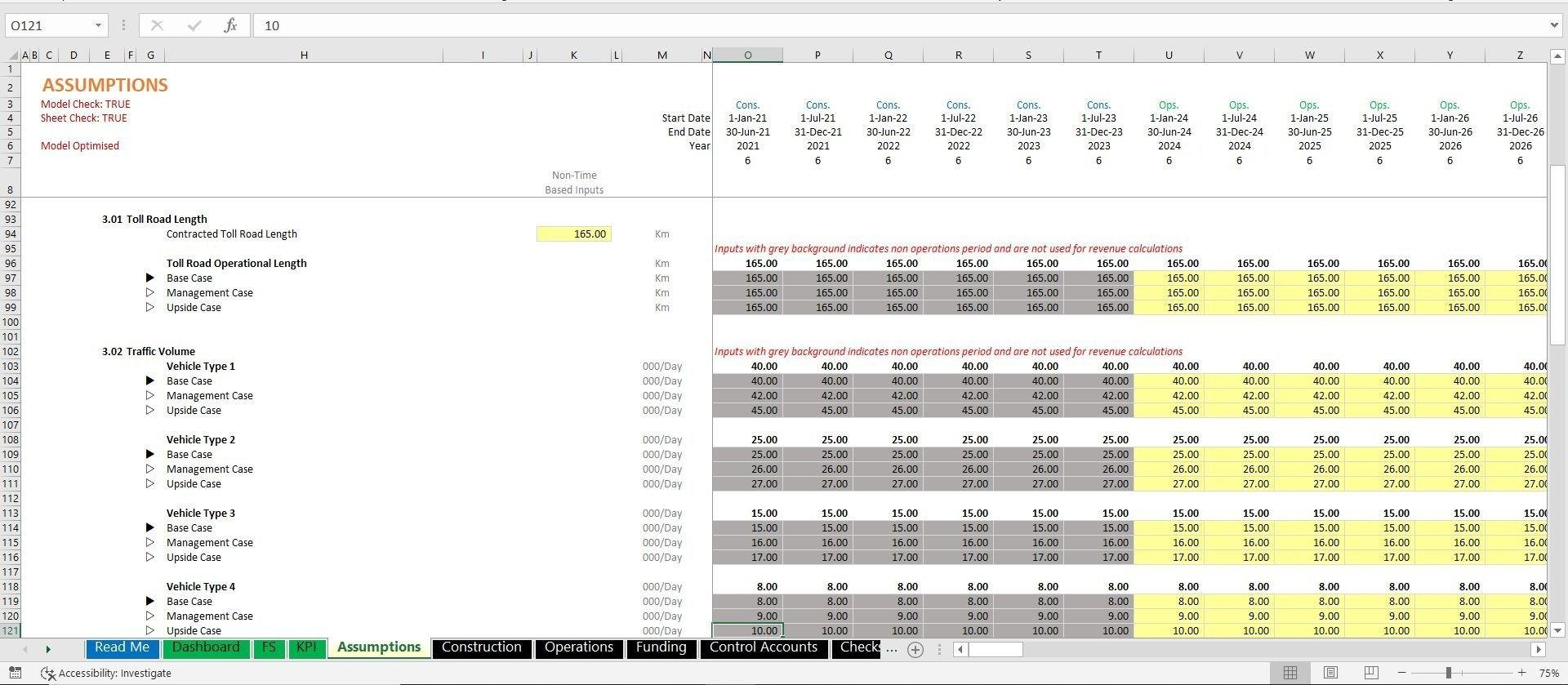 project finance toll road build and operate excel model with 3 statements and valuation 11