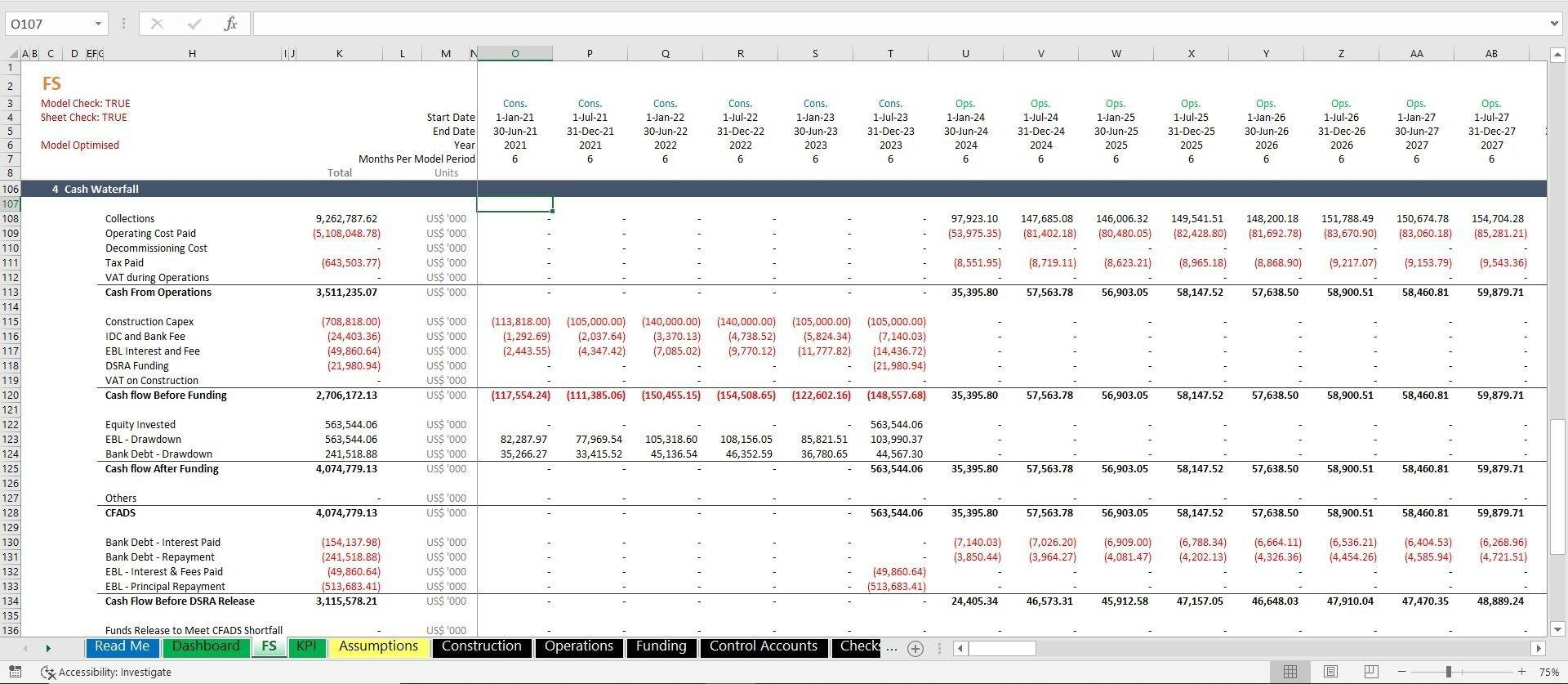 project finance toll road build and operate excel model with 3 statements and valuation 5