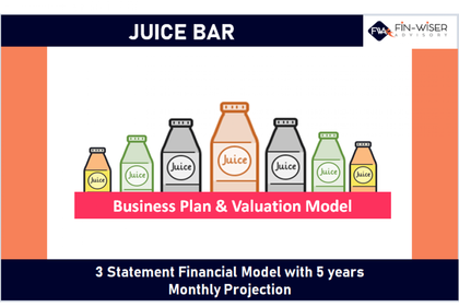 juice bar 3 statement financial model with 5 years monthly projection and valuation 10