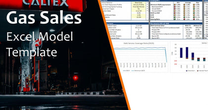 gas sales distribution model template with 3 statements and valuation 15