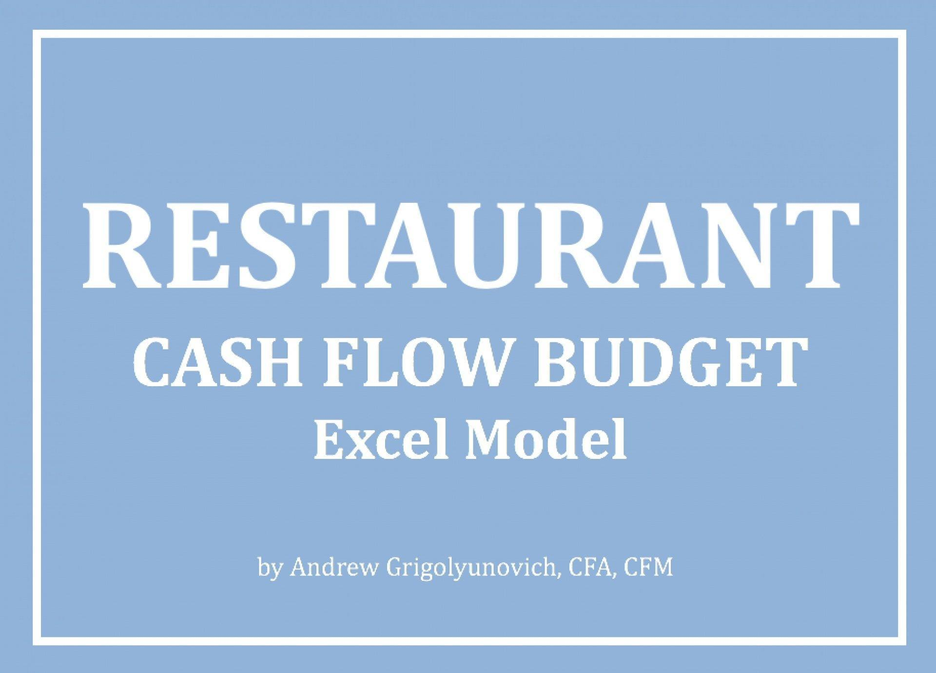 Restaurant - Cash Flow Budget Excel Model - Templarket -  Business Templates Marketplace