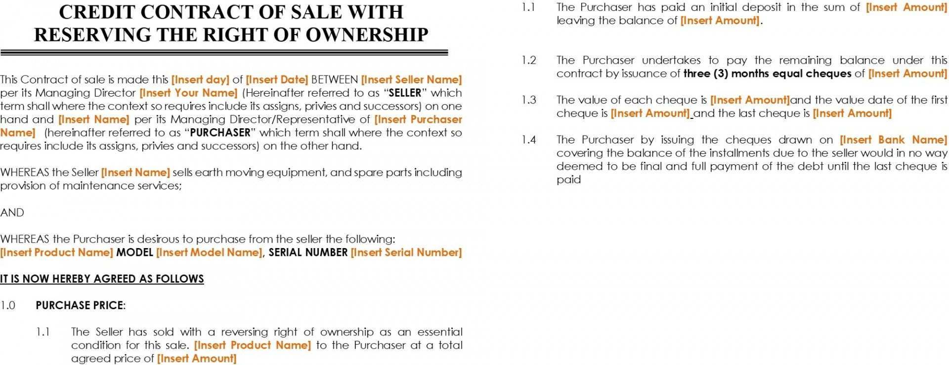 sales agreement with reserving the right of ownership 2