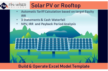 solar farm development model with integrated financial statement cash waterfall and automated tariff 2