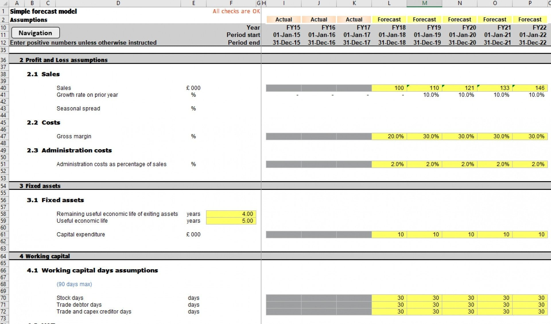 simple three statement excel cash flow model 3