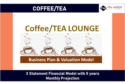 coffee tea lounge 3 statement financial model with 5 years monthly projection and valuation 10